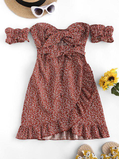 women's ZAFUL Off Shoulder Ditsy Print Smocked Back Ruffle Dress - DEEP RED M Mobile