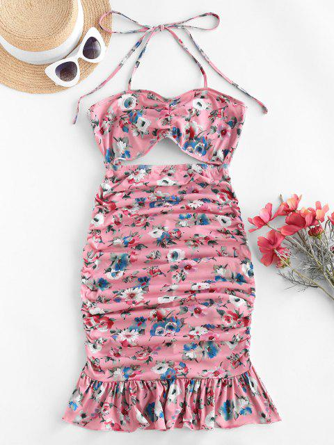 fashion ZAFUL Halter Floral Cutout Flounce Ruched Slinky Dress - FLAMINGO PINK S Mobile