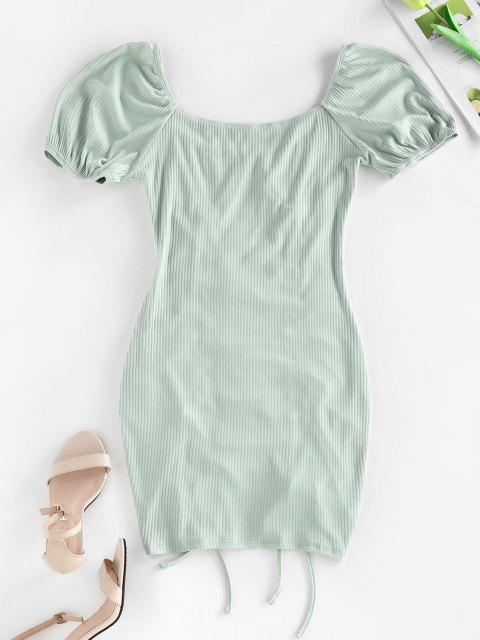 hot ZAFUL Ribbed Cinched Bodycon Mini Dress - LIGHT GREEN S Mobile