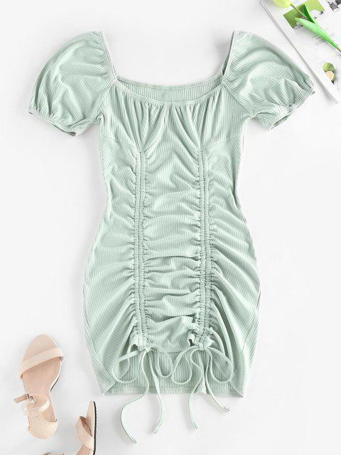 outfit ZAFUL Ribbed Cinched Bodycon Mini Dress - LIGHT GREEN XL Mobile