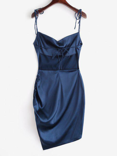 trendy Tie Shoulder Backless Cowl Front Ruched Dress - DEEP BLUE M Mobile