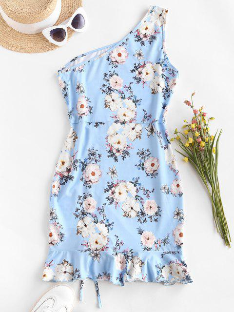 online ZAFUL One Shoulder Floral Slinky Ruffle Cinched Ruched Dress - SKY BLUE S Mobile