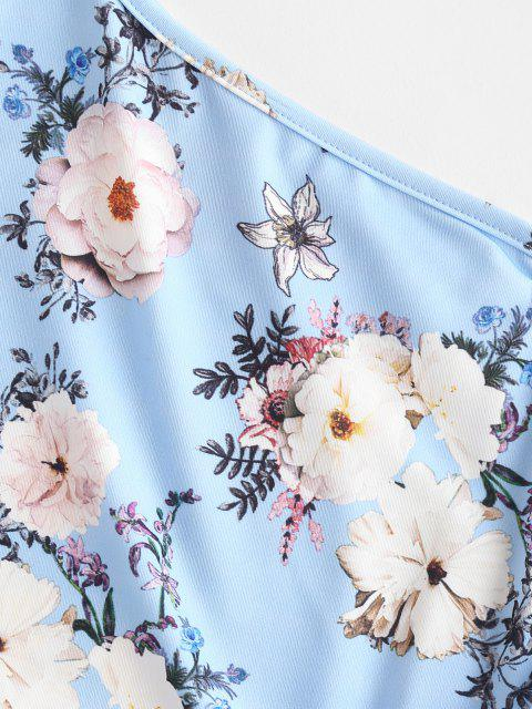 new ZAFUL One Shoulder Floral Slinky Ruffle Cinched Ruched Dress - SKY BLUE L Mobile