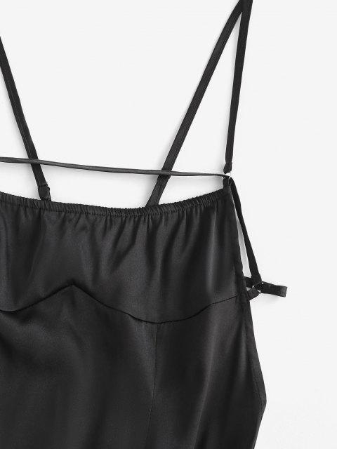 hot ZAFUL Backless Tie Satin Slinky Slip Dress - BLACK L Mobile
