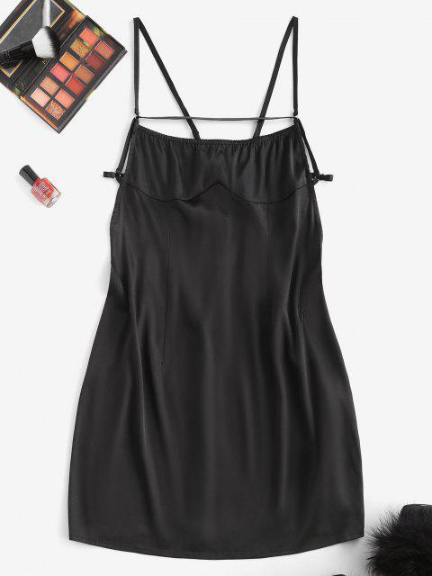sale ZAFUL Backless Tie Satin Slinky Slip Dress - BLACK M Mobile