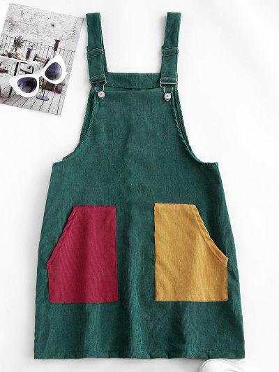 Corduroy Color Blocking Pocket Pinafore Dress - Deep Green S