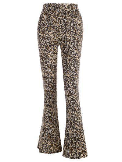Pantaloni Svasati Con Stampa Leopardata - Caffè Xl