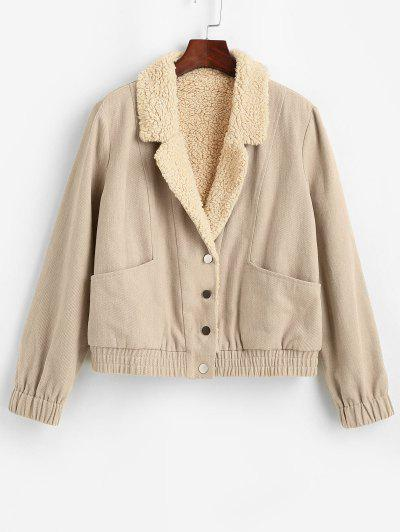 ZAFUL Pockets Teddy Lined Jacket - Apricot Xl
