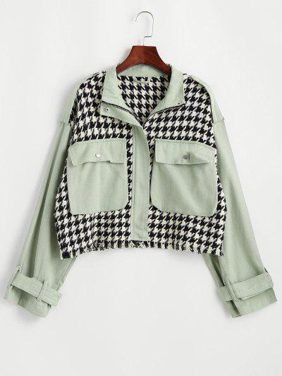 Flap Pocket Houndstooth Twill Panel Tweed Jacket - Light Green S