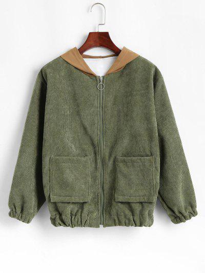 Contrast Hooded Corduroy Fleece Lined Jacket - Light Green L