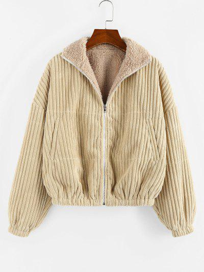 ZAFUL Reversible Corduroy Drop Shoulder Teddy Jacket - Light Khaki S