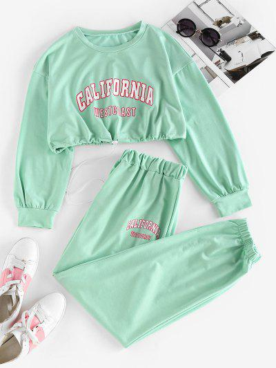 ZAFUL Letter Drop Shoulder Toggle Drawstring Joggers Set - Light Green M