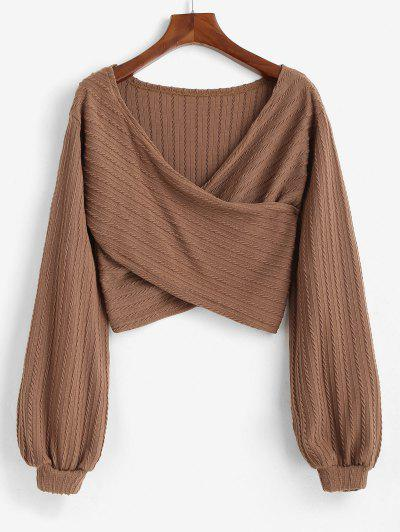 Crossover Front Cable Knit Lantern Sleeve Crop Knitwear - Coffee M