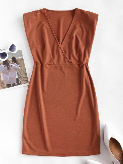 Surplice Padded Shoulder Sheath Work Dress - Coffee M