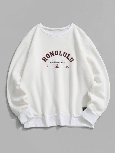 Fleece Lined Letter Print Sweatshirt - White Xl