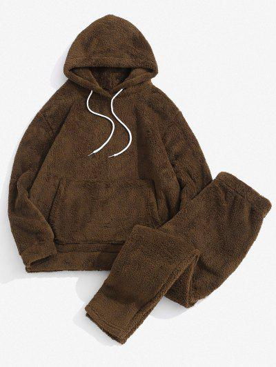 Solid Front Pocket Fluffy Hoodie And Pants Two Piece Set - Deep Brown 2xl