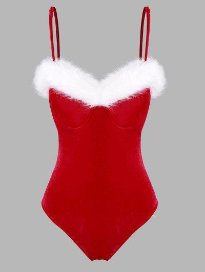 Christmas Faux Fur Insert Velvet Underwire Bodysuit - Red Xs