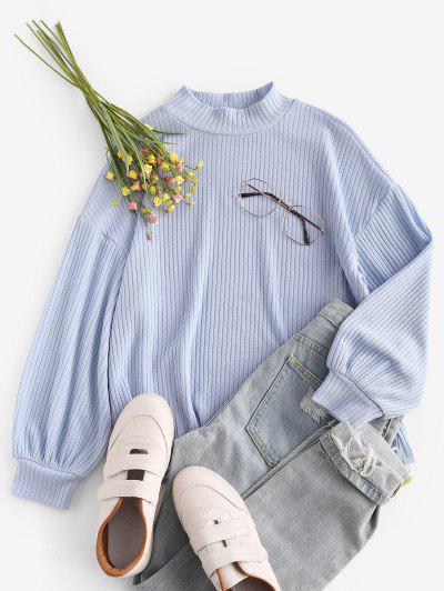 ZAFUL Mock Neck Ribbed Lantern Sleeve Knitwear - Light Blue S