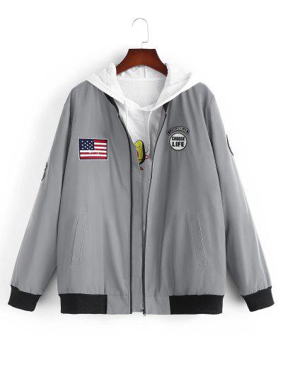 American Flag Embroidered Applique Reflective Padded Jacket - Gray Xl