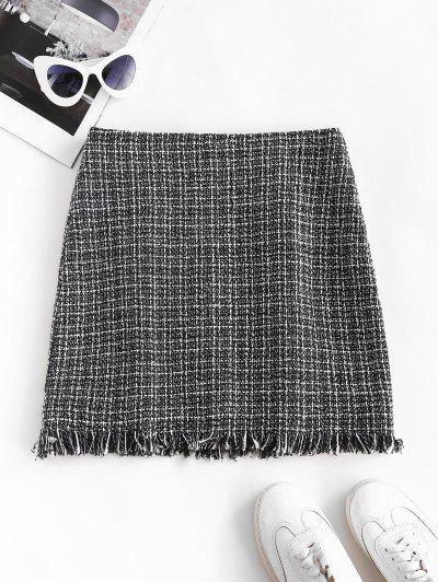 Plaid Frayed Hem Tweed Mini Skirt - Black S