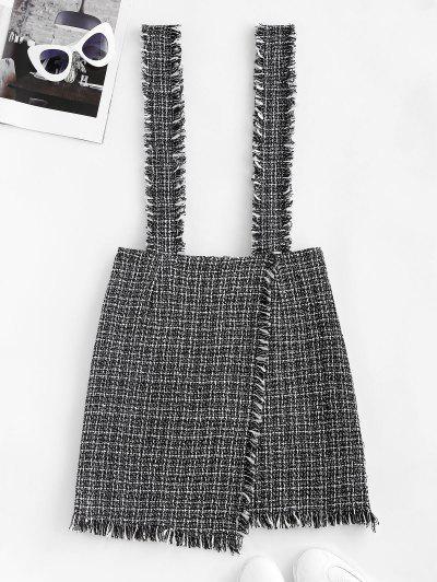 Plaid Overlap Tweed Frayed Suspender Skirt - Black M
