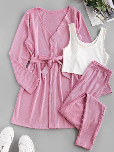 Belted Ribbed Lounge Three Piece Cardigan Set - Light Pink L