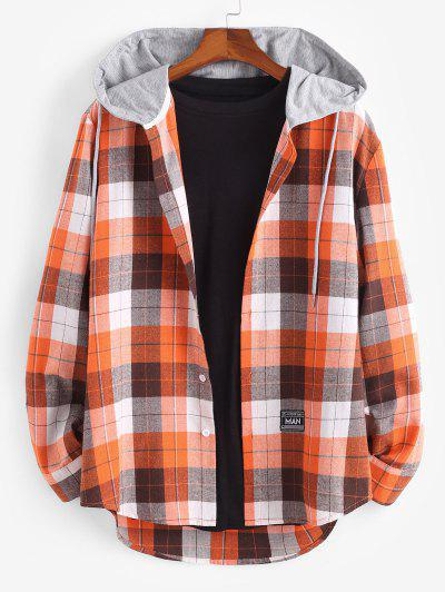 Plaid Print Hooded Applique Detail Shirt - Dark Orange L