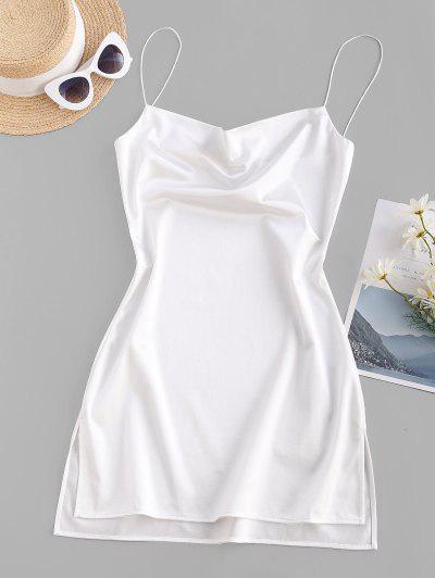 Side Slit Satin A Line Cami Dress - White M