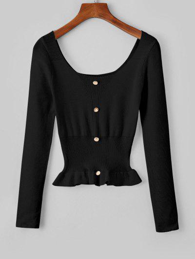 Falschen Knöpfe Schößchen Scoop Kragen Sweatshirt - Schwarz
