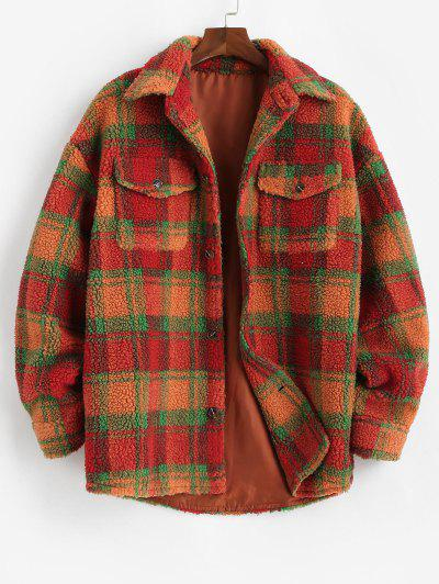 Plaid Pattern Pocket Button Up Teddy Jacket - Dark Orange S
