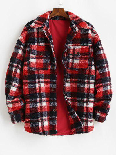 Plaid Pattern Pocket Button Up Teddy Jacket - Red S