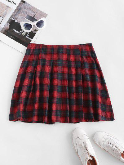 Plaid Tartan Kilt Pleated Mini Skirt - Red S