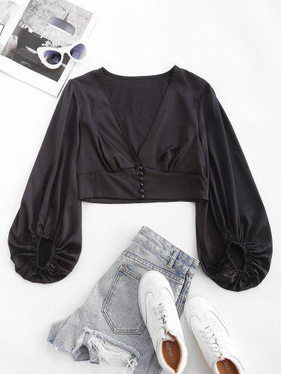 ZAFUL Silky Satin Puff Sleeve Crop Blouse - Black M