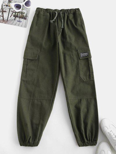 Drawstring Pocket Beam Feet Cargo Pants - Deep Green L