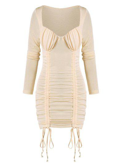 Cinched Ruched Bust Sheeny Bodycon Dress - Apricot L
