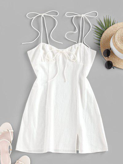 ZAFUL Tie Shoulder Bowknot Slit Mini Dress - White M
