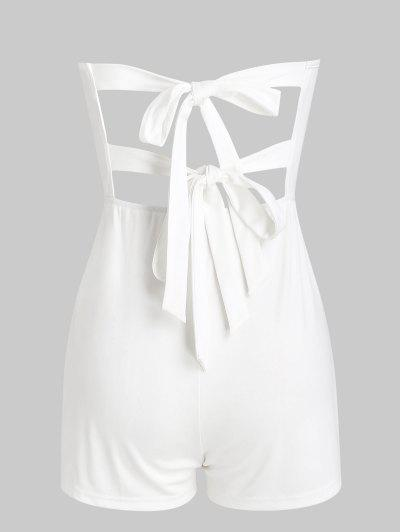 Tie Back Loose Tube Romper - White S