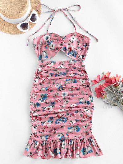 ZAFUL Halter Floral Cutout Flounce Ruched Slinky Dress - Flamingo Pink S
