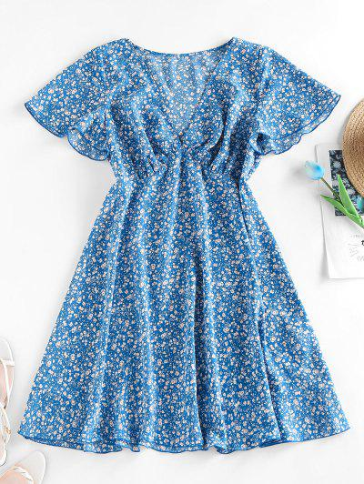 ZAFUL Ditsy Print Flutter Sleeve Plunging Mini Dress - Blue M
