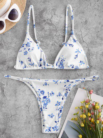 ZAFUL Ribbed Floral String Bikini Swimwear - White M