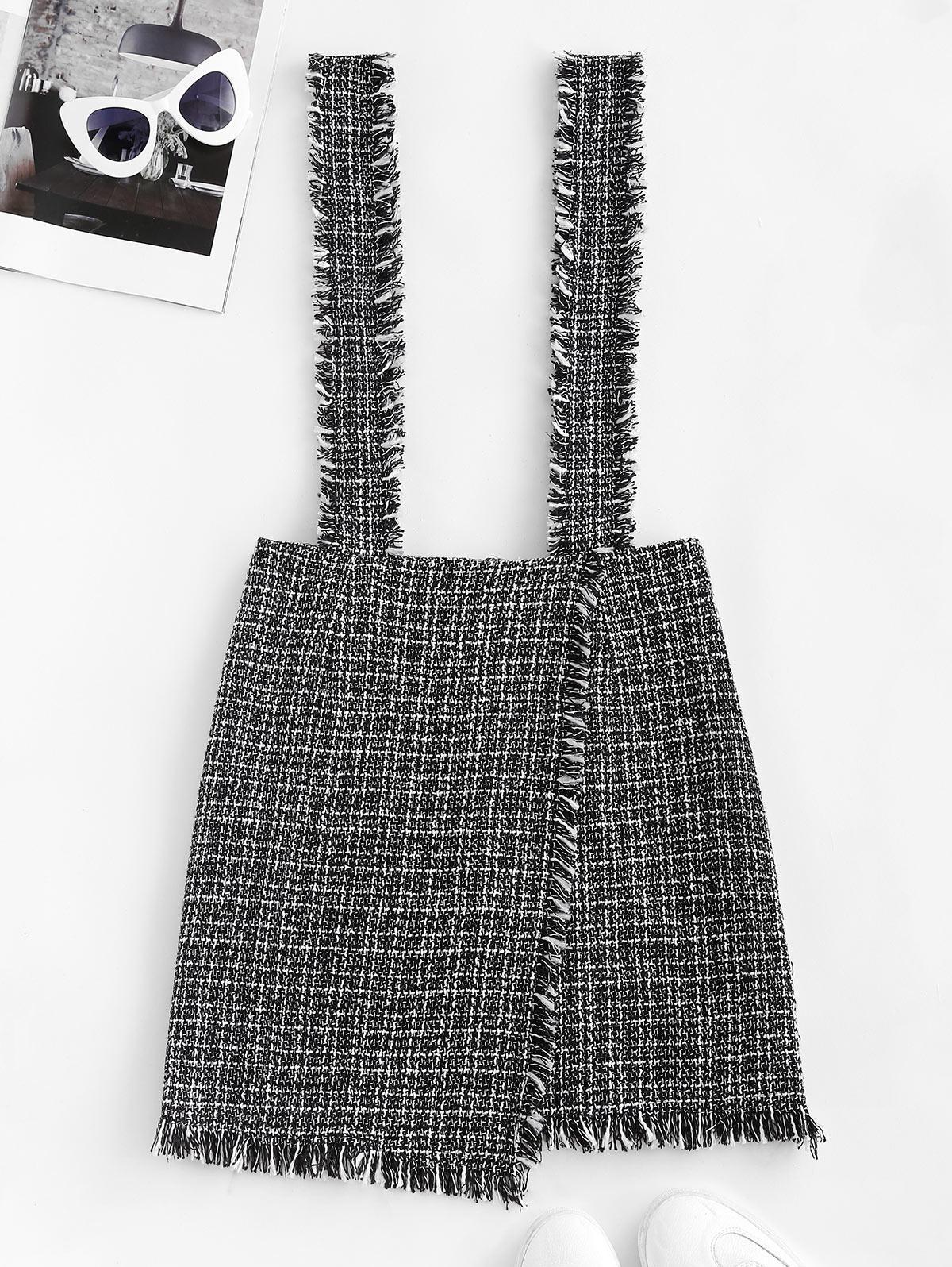 Kleider & Röcke Kariert Überlappung Tweed Ausgefranster Hosenträger Rock