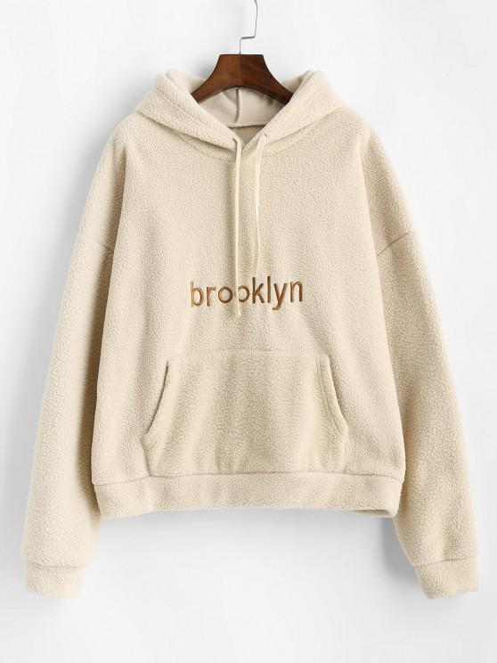 hot Front Pocket Oversized Brooklyn Embroidered Teddy Hoodie - LIGHT COFFEE ONE SIZE