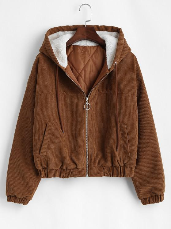 women Zip Up Fleece Hood Corduroy Jacket - COFFEE S