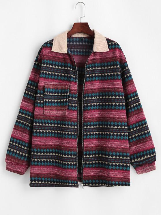 affordable ZAFUL Flap Pockets Tribal Print Fleece Lined Jacket - DEEP RED S