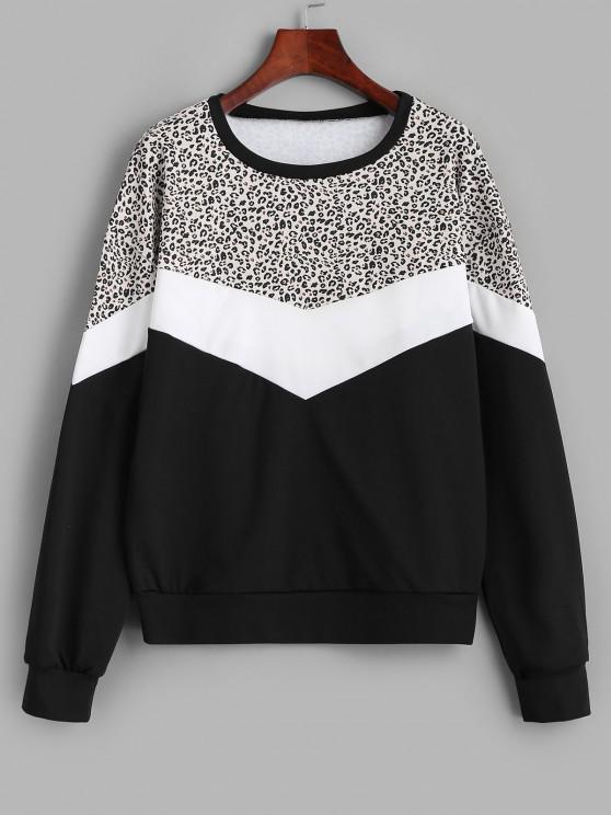 unique Colorblock Leopard Panel Sweatshirt - BLACK L