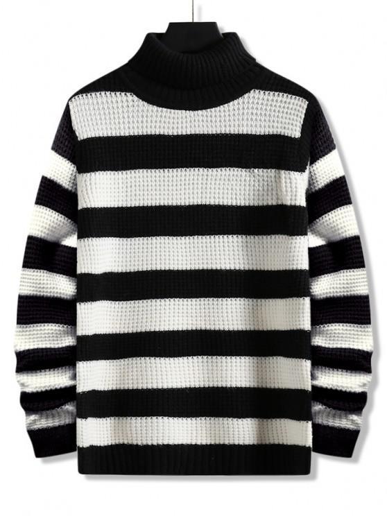 shops Turtleneck Striped Knit Sweater - BLACK M