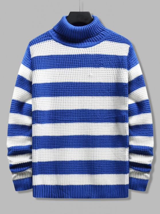 Turtleneck Striped Knit Sweater - أزرق XS