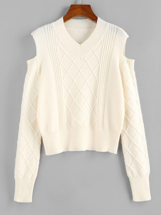 chic ZAFUL Cold Shoulder Rhombus Cable Knit Jumper Sweater - LIGHT COFFEE S