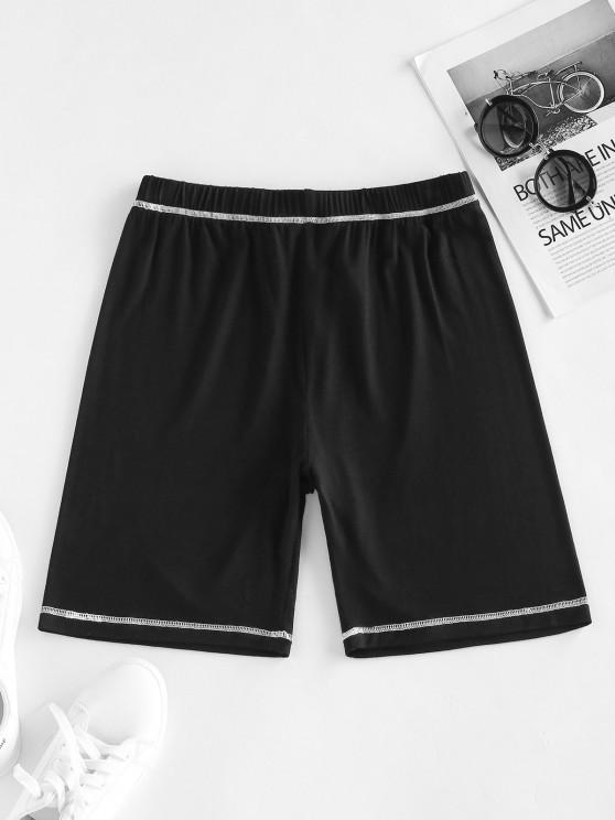 trendy ZAFUL Topstitching High Waisted Biker Shorts - BLACK S