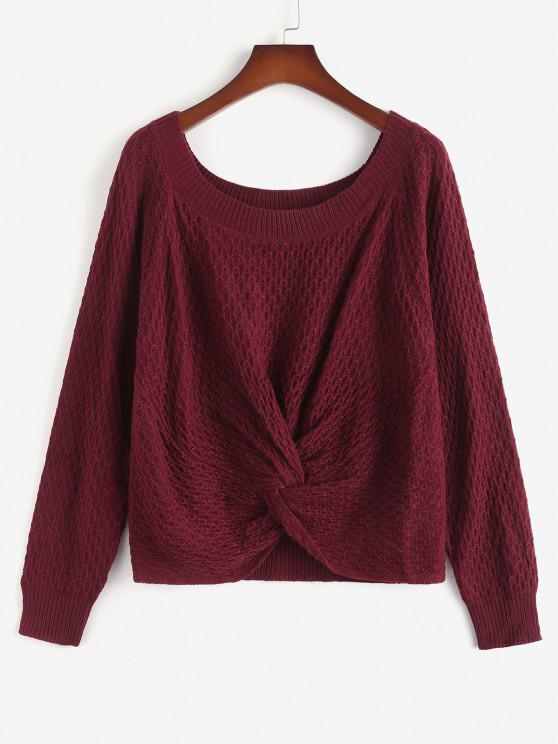 women's ZAFUL Plus Size Twist Front Raglan Sleeve Sweater - DEEP RED 3XL
